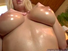 Big tits babe swallows cum and spits some on her tits