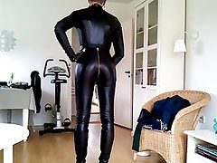 Sissy sexy leather catsuit 1