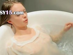 18yo skinny teenie fingering in a bath