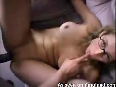 Hot busty nerdy chick gets cum on her sweet face
