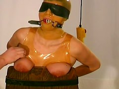 Major tit torture with latex submissive