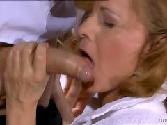 Hot Mature Blonde Gets Fucked and Receives a Cum On Tits In High Heels