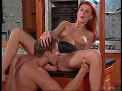 Brunette Babe Joins a Hot Redhead Fucking a Guy In Threesome