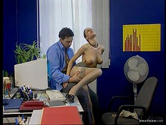 Hot Brunette Secretary Fucks Her Boss In The Office