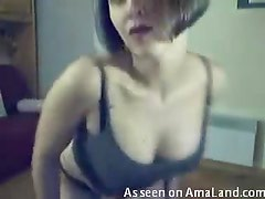 Sexy slim and sexy chick stripping totally naked