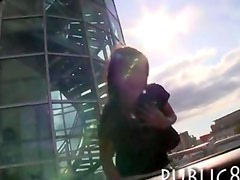 Petite tall amateur Czech girl sucking and fucking in public
