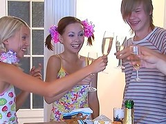 Foursome stars adorable teens in pigtails