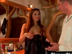 Glam clothed hottie gives hot blowjob