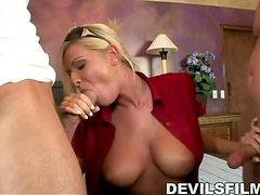 Hot blonde Riley Evans gets fucked by a couple of guys