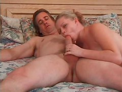 Chubby blonde fucked in her shaved pussy