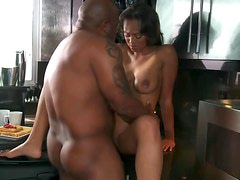 Naturally Busty Asian Babe Evanni Solei Sucks and Fucks a Black Cock