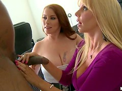 Naturally Busty MILFs Karen Fisher and Desiree Deluca Get Threesomed