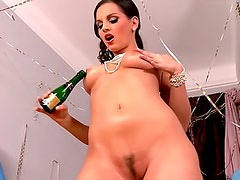 Solo girl Eve Angel in purple panties is masturbating her hairy kitty with sex tool