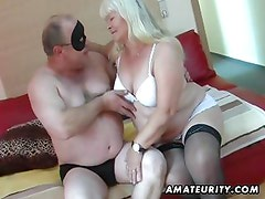 Chubby amateur wife sucks and fucks on her bed