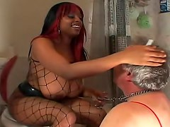 Black dominatrix pisses in his mouth