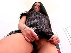 Sexy dress on solo stripping beauty