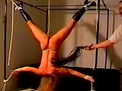 Body bent in sexy rope bondage