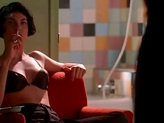 Exquisite Brunette Celeb Michelle Forbes Wearing a Sexy Black Bra