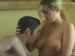 Naturally Busty Blonde Babe In Glasses Gets Banged After Having Dinner