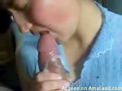 Hot brunette swallowing cock and enjoying cum