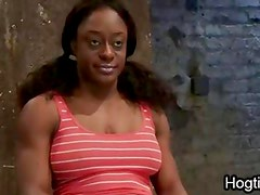 Huge boobs muscle ebony bound fucked in dungeon