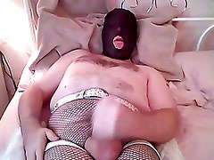 Fishnet Tights Wanking And Cumshot
