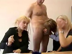 Cfnm fetish hotties give handjob