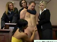 Hot mistresses tug on cfnm cock