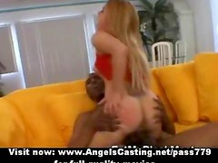 Amazing blonde riding and sucking cock and fucked hard by black guy