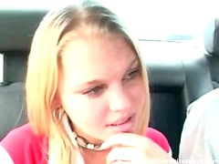 Cute amateur goes down on him in the car