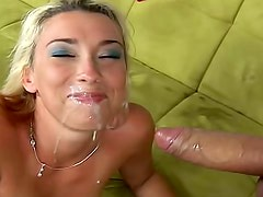 Tattooed and lovely blonde loves to taste hot sperm after deep interaction