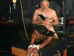 Tied up black girl fucked from behind