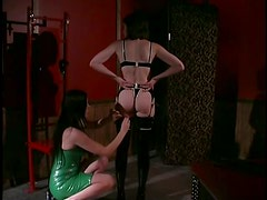 Busty Dominatrix Gives Painful Nipple Torture To Her Lesbian Sex Slave