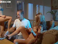 Hot Threesome with Brown & Blond Haired Babes