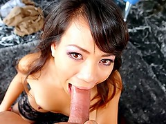 Sexy oriental wears nylons and gets her throat fucked hard!
