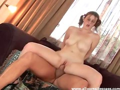 In pigtails this girl gets it in the ass