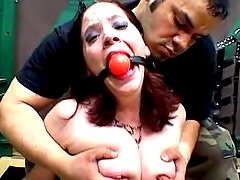 Ball gag slut tied and fondled by master