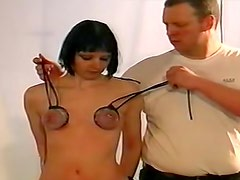 Extreme bondage for her small tits