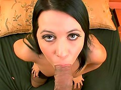 Beautiful curvy girl gets cock off with big tits