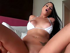Flawlessly beautiful Latina bikini girl boned