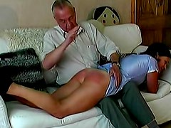 Young lady over the knee for spanking