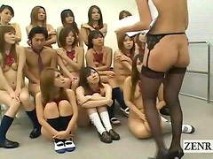 Subtitled nudist Japanese class ENF sex ed inspection