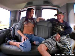 Brunette Hottie Fucking Loves the Bang Bus