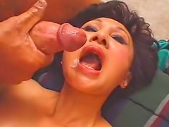 Asian mature spit roasted by big cocks