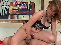 Voluptuous oiled up girl rides big dick