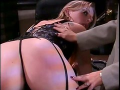 Kinky Bondage Lesbians Spanking Their Asses In Lingerie At The Office