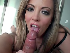 Sultry pierced tongue girl suck and fuck