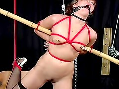 Sexy slim girl in BDSM dungeon video