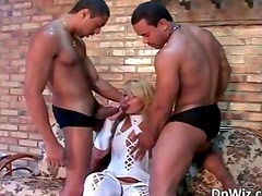 Hot and sexy blond bitch blows jizzster