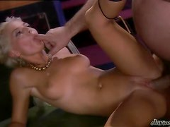 Amazing blonde Roman lady fucks a guy and gets a facial